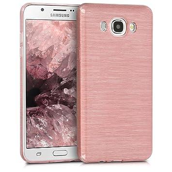 kwmobile Funda para Samsung Galaxy J7 (2016) - Carcasa de TPU para móvil y diseño de Aluminio Cepillado en Oro Rosa/Transparente
