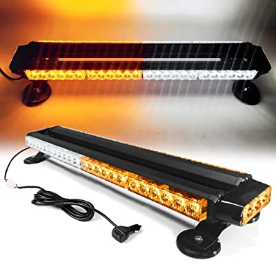 "26"" 54 LED 7 Flash Mode Traffic Advisor Double Side Emergency Warning Security Vehicle Roof Top Strobe Light Bar with Magnetic Base for Undercover or Tow Truck Construction (White/Amber): Automotive [5Bkhe0815989]"