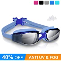Swimming Goggles, Arteesol Anti Fog Swim Goggles Crystal Clear 180° Panoramic Vision Mirrored with 100% UV Protective Coating with Protective Case and Earplug for Adults, Men and Kids (5 Colours)