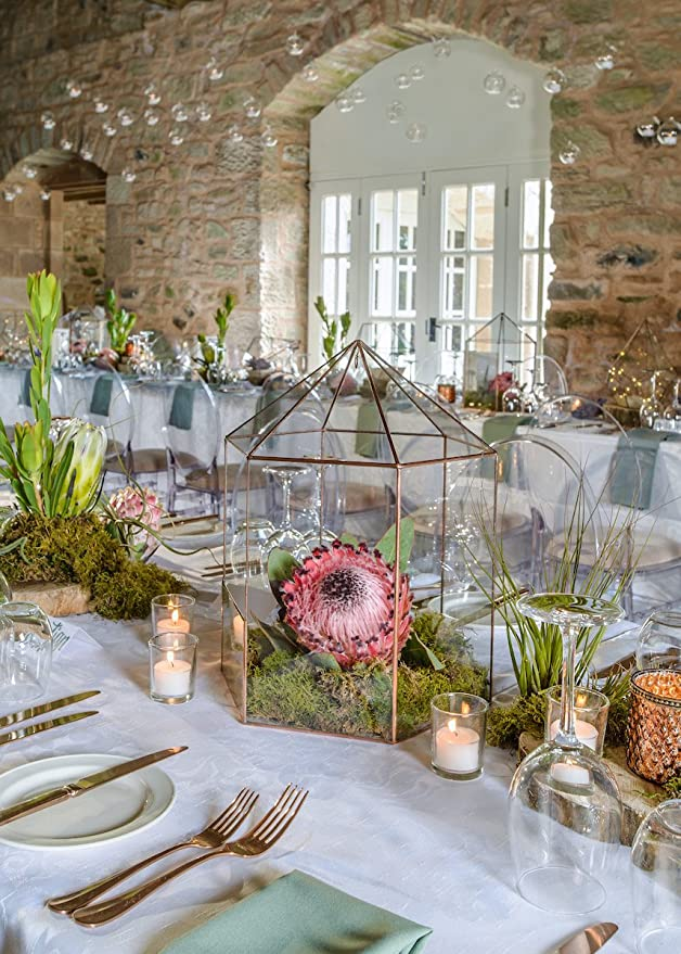 Farol boda terrario/geométrico cristal centrepice/moderno maceta ...