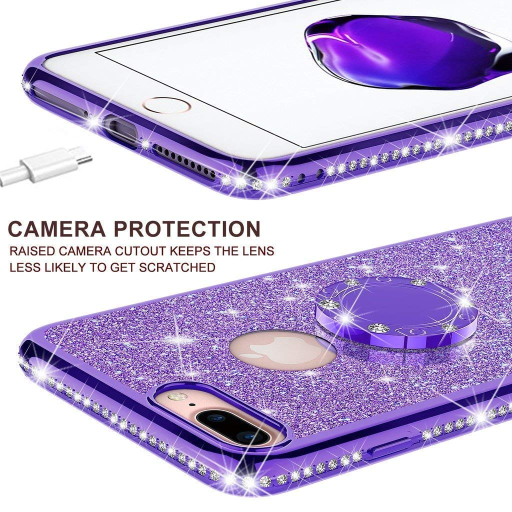 Hnzxy iPhone 6S Plus Case,iPhone 6 Plus Cover,Bling Rhinestone Diamond Glitter Rubber Plating Silicone TPU with 360/°Ring Stand Holder Soft TPU Bumper Cover Case for iPhone 6 Plus 6S Plus,Silver