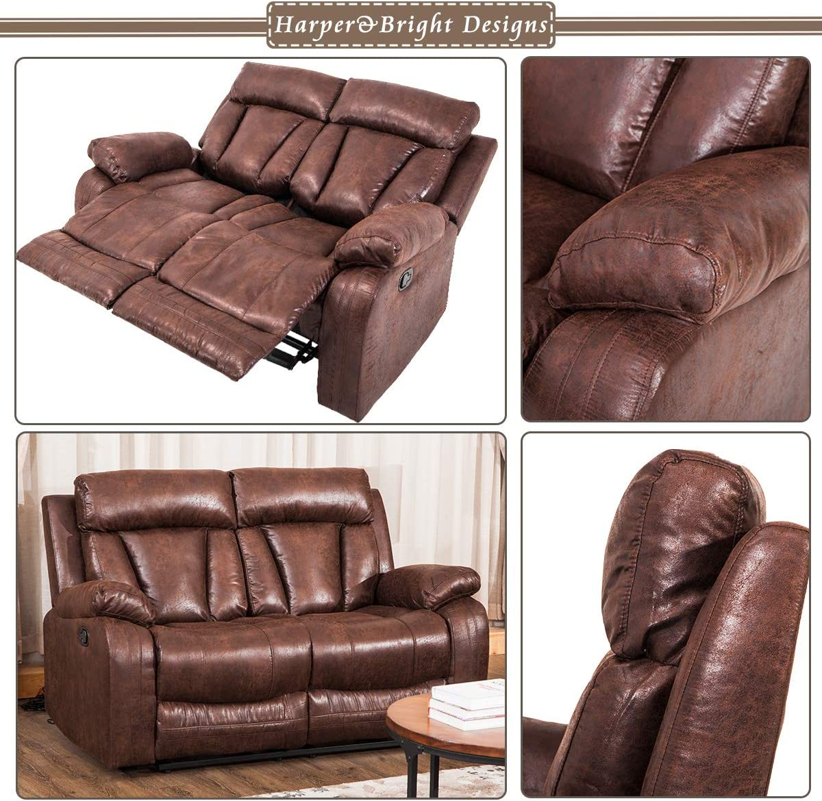 Reclining Sofa Leather Recliner Loveseat for Living Room Classic Reclining Loveseat Retro Style Sleeper Sofa for Home and Office