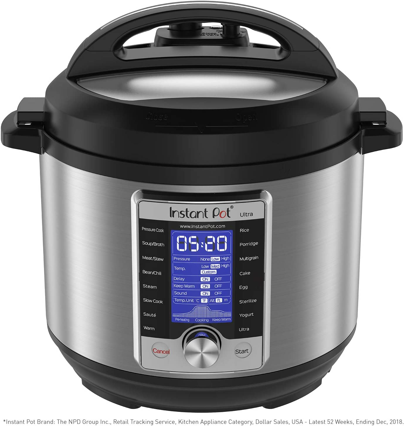 Instant Pot Ultra 10-in-1 Electric Pressure Cooker, Slow Cooker, Rice Cooker, Steamer, Saute, Yogurt Maker, Cake Maker, Egg Cooker, Sterilizer, and Warmer|6 Quart|16 One-Touch Programs