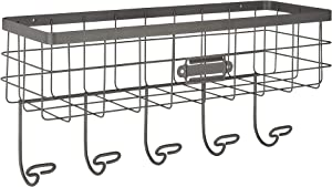 Spectrum Diversified Vintage Wire Basket & Hook Station Wall Mount Storage, Small, Industrial Gray
