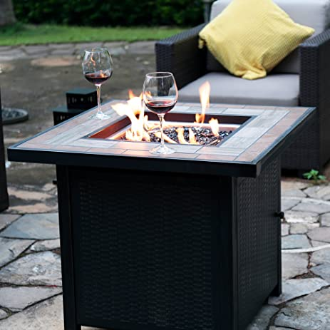 Amazon.com: LP Gas Fire Table 30-in W 50000-BTU Propane Gas Fireplace Outdoor Fire Pit by Bali Outdoors: Garden & Outdoor