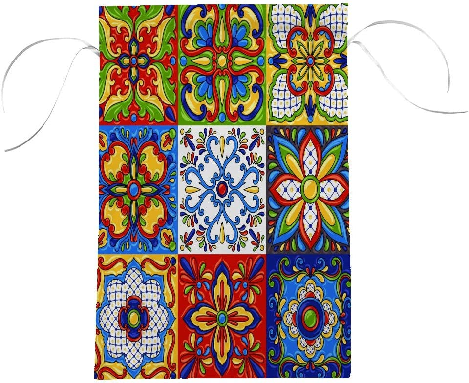 Zhongji Premium Garden Flag Vertical Double Sided Outdoors Yard Outdoor Decor Weather Resistant Mexican Talavera Block Ethnic Folk Ornament Majolica Colorful Flag