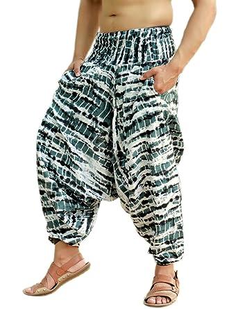 f4febad1525 Sarjana Handicrafts Mens Womens Rayon Tie Dyed Harem Pants Yoga Drop Crotch  Trouser (Black)
