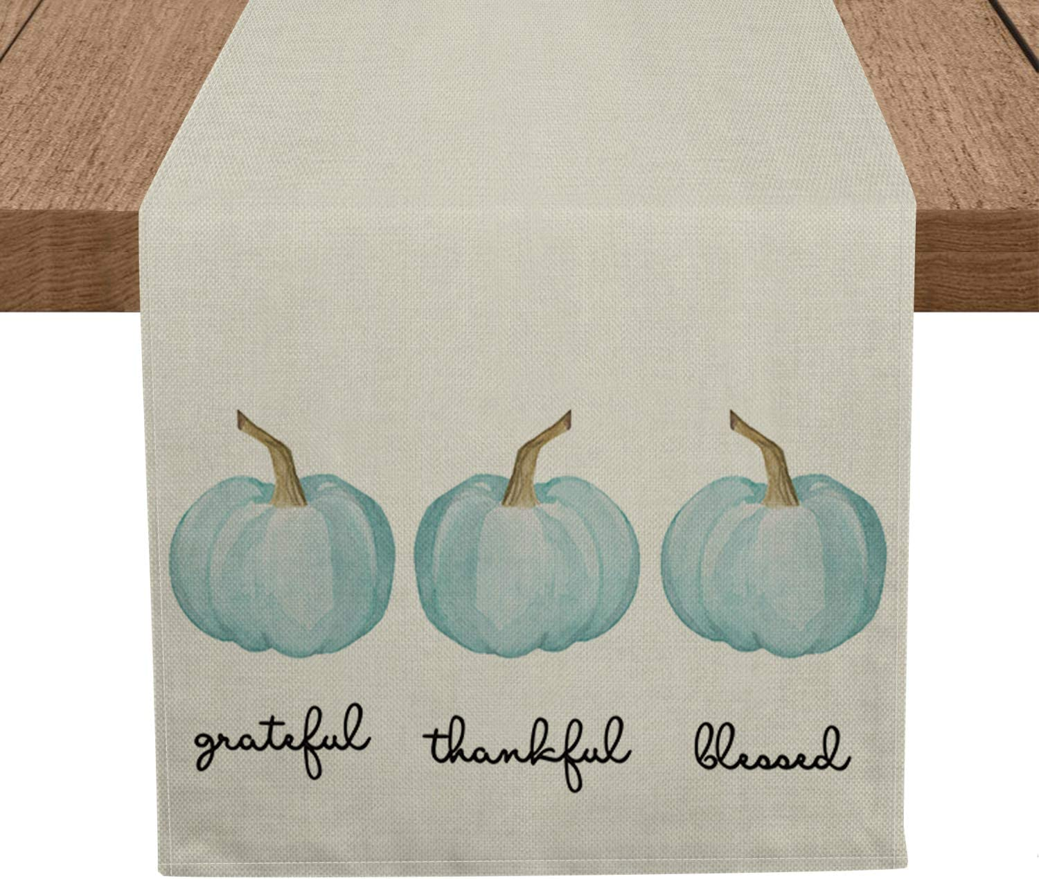 Artoid Mode Grateful Thankful Blessed Pumpkins Table Runner, Seasonal Fall Harvest Tablecloth Kitchen Dining Table Linen for Indoor Outdoor Home Party Decor 13 x 72 Inch