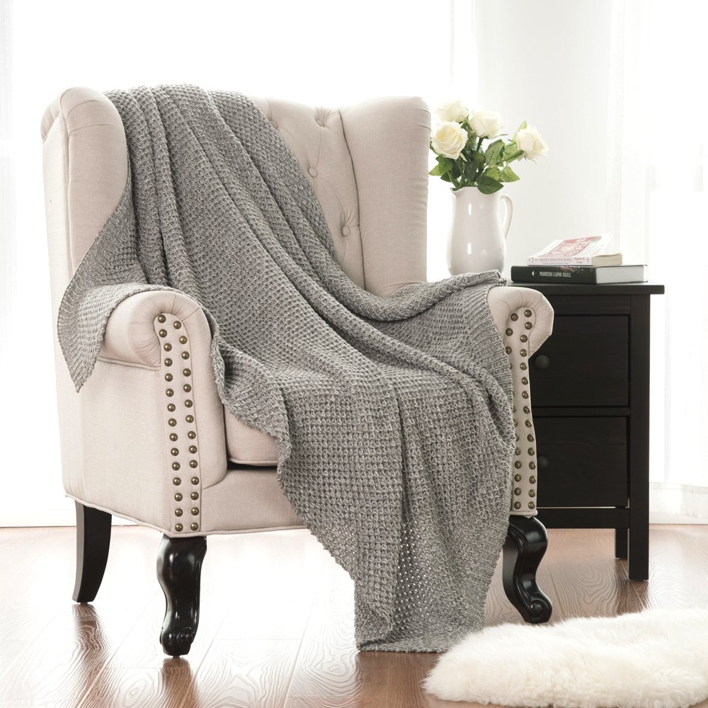 Bedsure Knitted Throw Blanket for Sofa and Couch, Lightweight, Soft & Cozy Knit Throws - Grey, 50''x60''