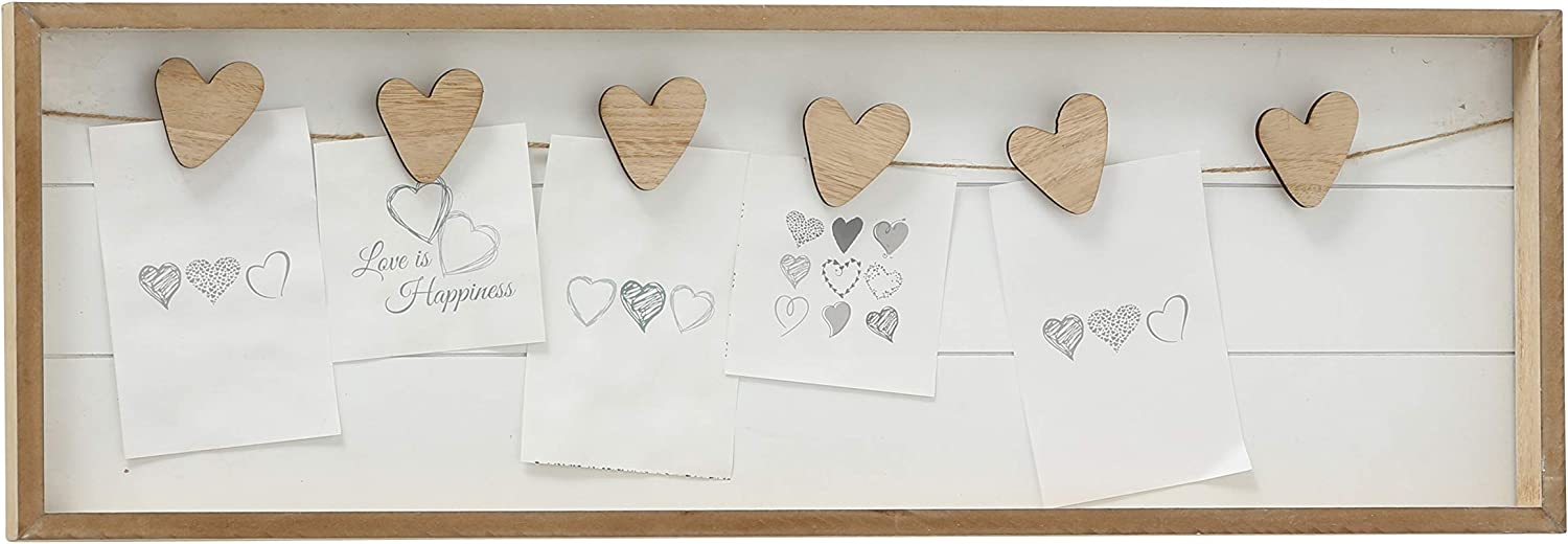 WHW Whole House Worlds Farmers Market Clothespin Memo Board, 6 Heart Clips, Twine Detail, Rustic Ship Lap, Contrast Brown Frame, 28 1/2 Inches Wide Easy-Mount Saw Tooth Hangers, Photo Holder