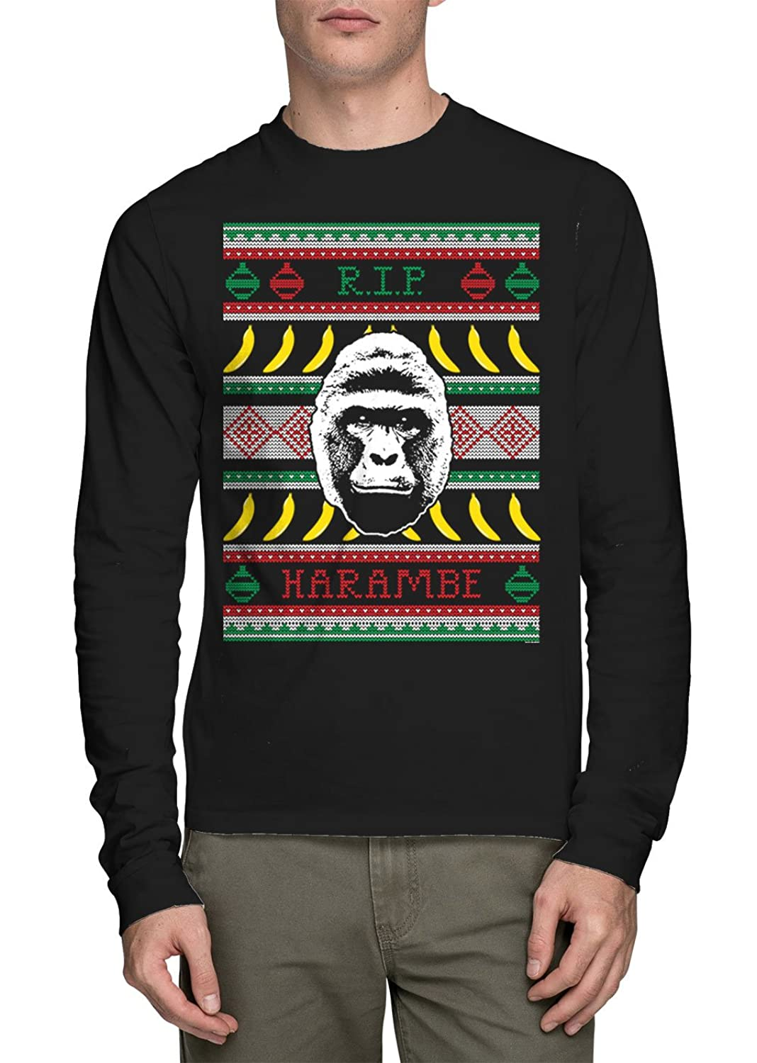 long sleeve mens rip harambe ugly christmas sweater shirt jpg 1068x1500 sweater anti harambe