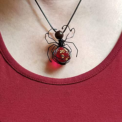 D20 Necklace comes with small dice bag translucent neon orange D20 on 16 inch black leather cord w lobster claw closure