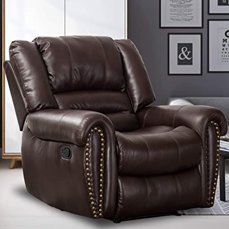 Canmov Recliner Chair Breathable Pu Leather Classic And Traditional Manual Recliner Chair With Arms And Back Single Sofa For Living Room Brown Kitchen Dining