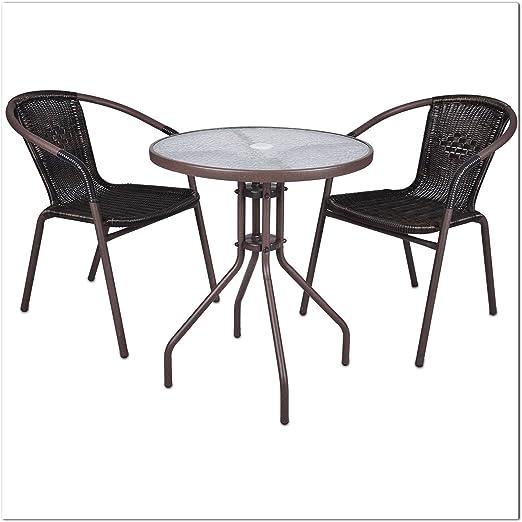 LD Juego de 3 Bistro Set Asiento Grupo ratán Mobiliario de jardín Muebles de jardín Muebles de terraza: Amazon.es: Jardín
