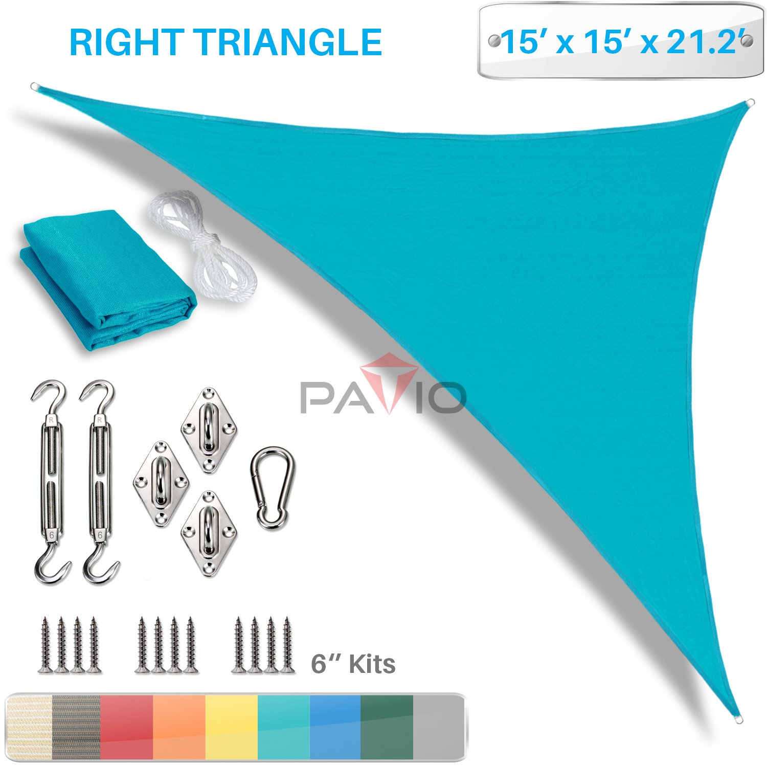 PATIO Paradise 15 x 15 x 21 Sun Shade Sail with 6 inch Hardware Kit, Turquoise Green Right Triangle Canopy Durable Shade Fabric Outdoor UV Shelter – 3 Year Warranty – Custom