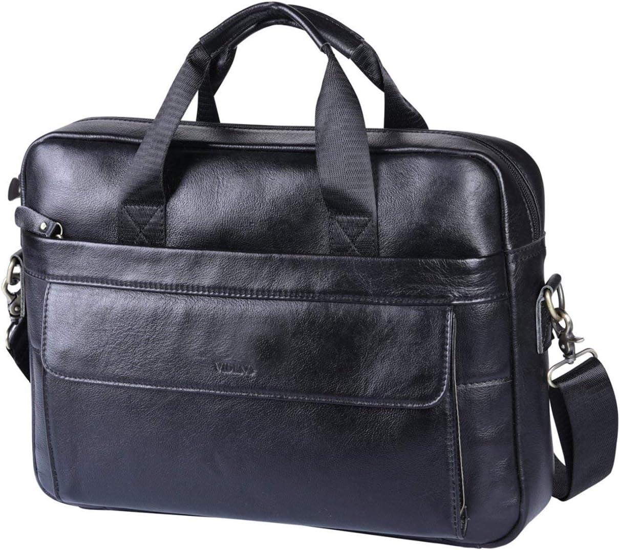 VIDENG piel maletín, Authentique piel 14 pulgadas portátil bolsa ...