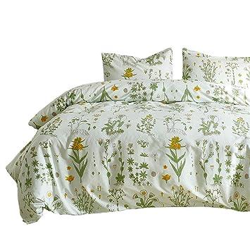Ashanlan Grün Blätter Bettwäsche 135x200cm Bettbezug Mit Blumen