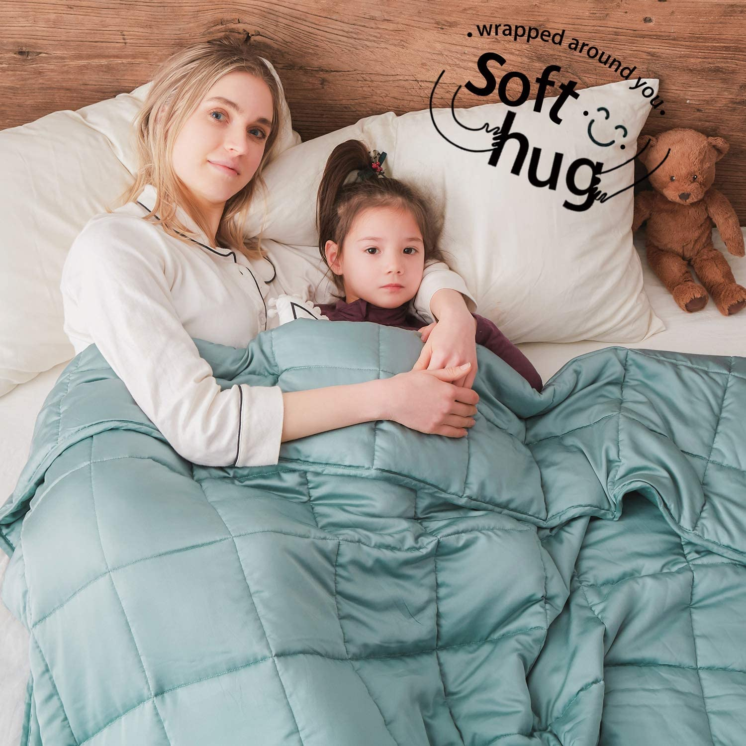 Dornroscn Bamboo Weighted Blanket with 100% Pure Natural Bamboo Viscose | 20lbs-60''x80''-Queen Size Bed for Adults | Cooling Heavy Blanket Premium Glass Bead for Hot & Cold Sleepers, Sea Grass