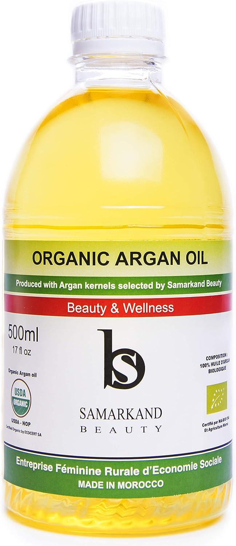 500 ml Aceite de Argán BIO 100% Puro Primera Presión en Frío para Pelo y Piel - El Original de Marruecos