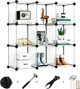 Greenstell Cube Storage Organizer, 9-Cube Closet Organizer, DIY Plastic Storage Cubes Organizer, Modular Storage Cabinet Book Shelf Shelving for Bedroom, Living Room, Office White