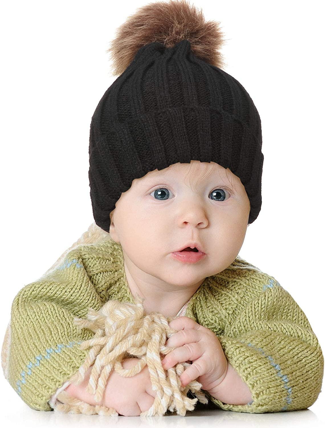 3 Pieces Knit Hat Scarf Gloves Set Toddler Warm Scarf for Boys Girls Winter Hat with Pom Pom
