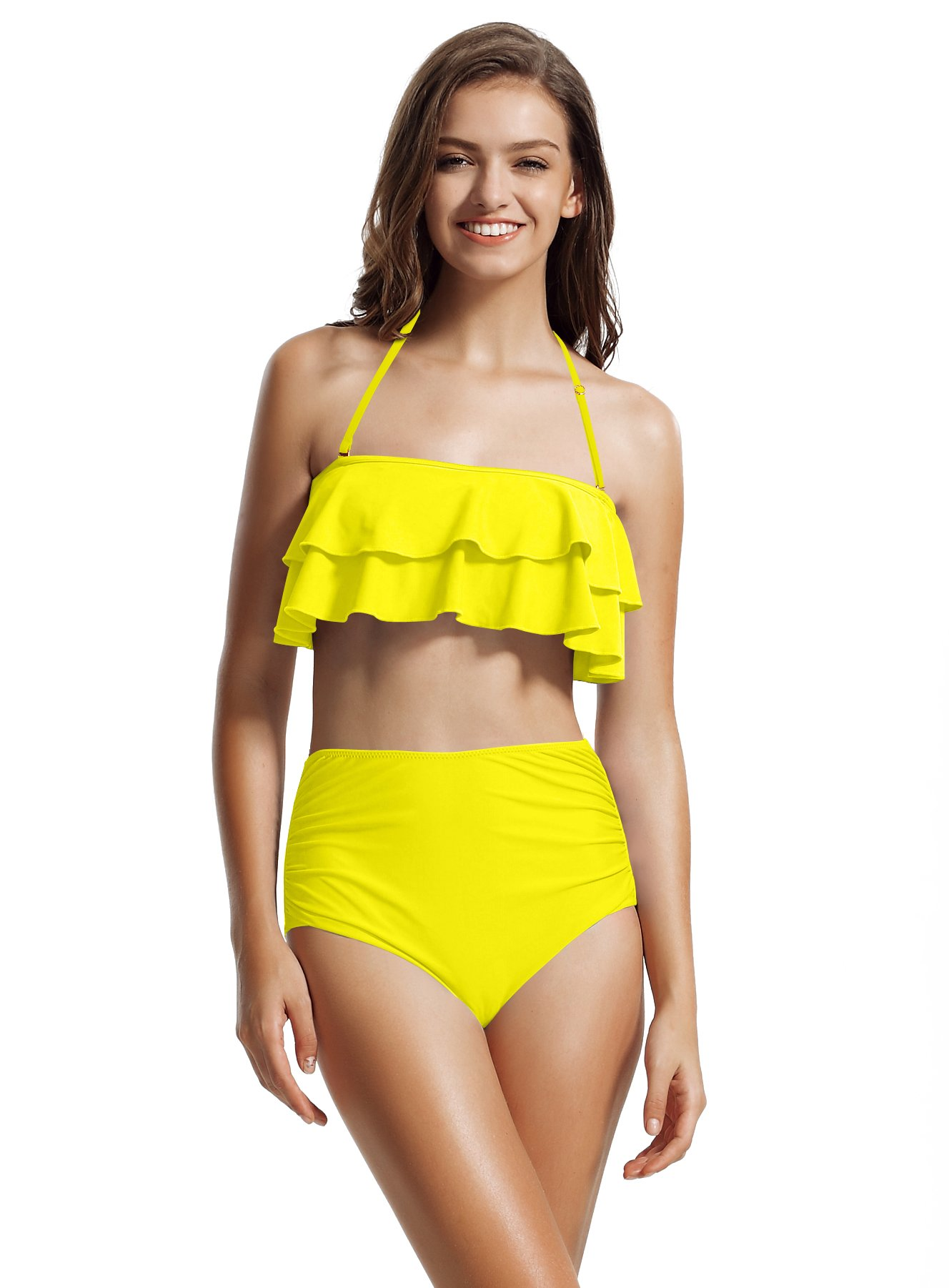 509b1fa0dda zeraca Women's Ruffle Bandeau High Waisted Bikini Bathing Suits | Amazon
