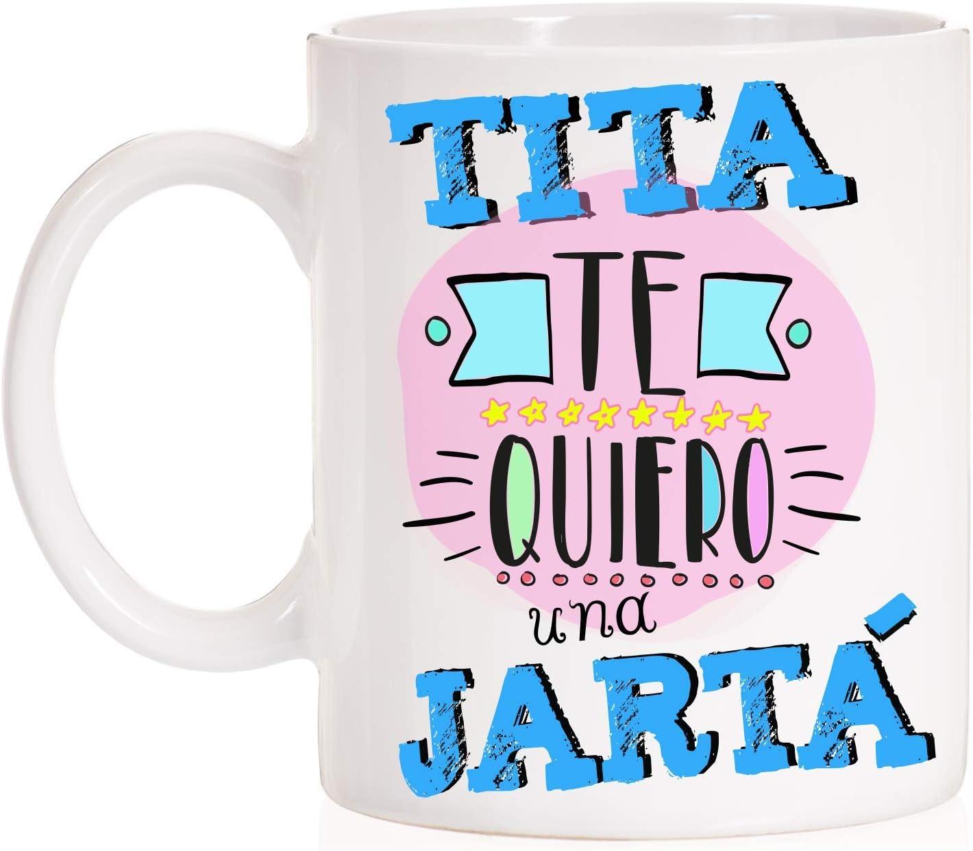 Taza Tita. Tita te quiero una jartá. Taza de regalo para títas con caja divertida. (Jartá)