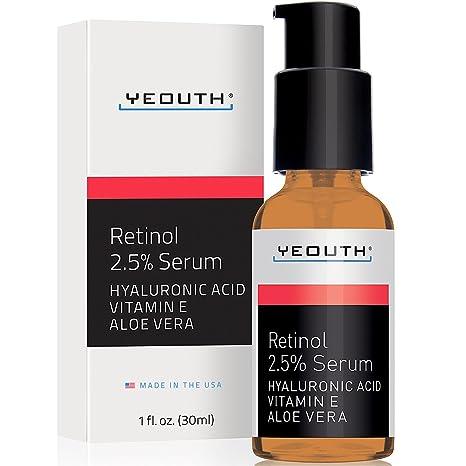 Retinol Sérum 2,5% con ácido hialurónico, aloe vera, vitamina E –