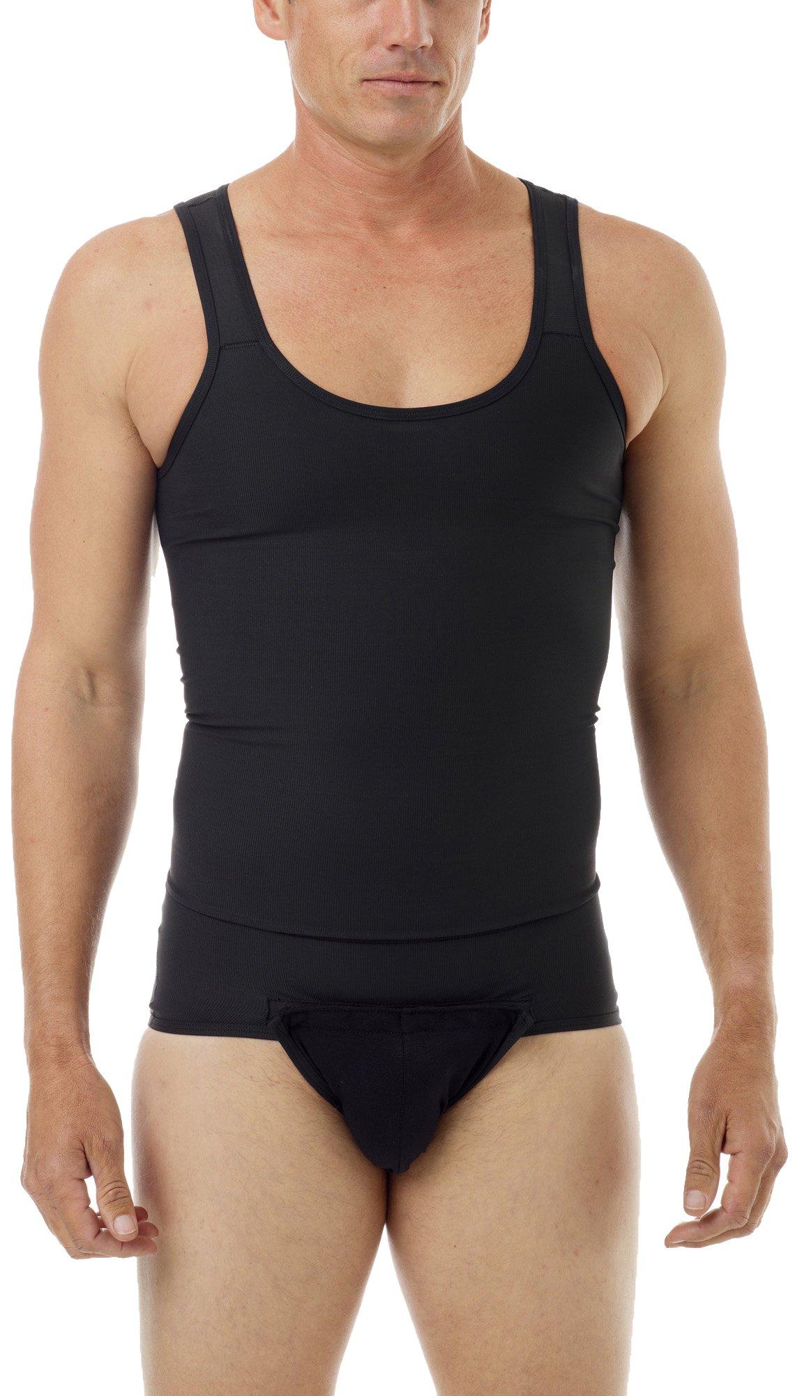 Underworks Mens Compression Tanksuit Girdle Shirt X-large Black
