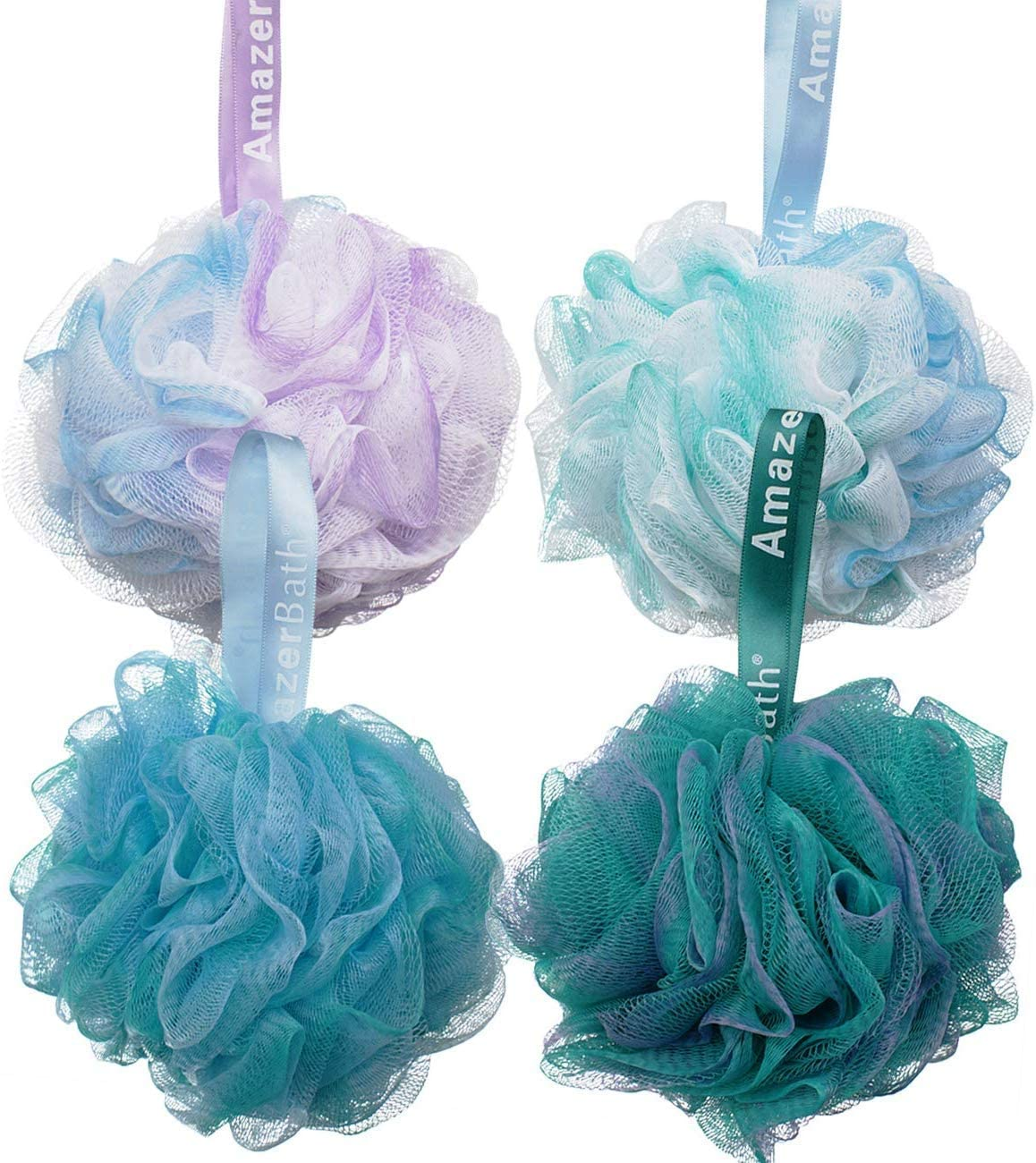 AmazerBath Shower Bath Sponge Shower Loofahs Balls 60g/PCS for Body Wash Bathroom Men Women- Set of 4 Flower Color Pack