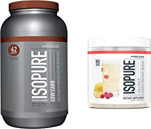 Isopure Low Carb Protein Powder, Flavor: Dutch Chocolate (3 Pounds) with Isopure Collagen Peptides Protein Powder, Flavor: Raspberry Lemonade (15 Servings)