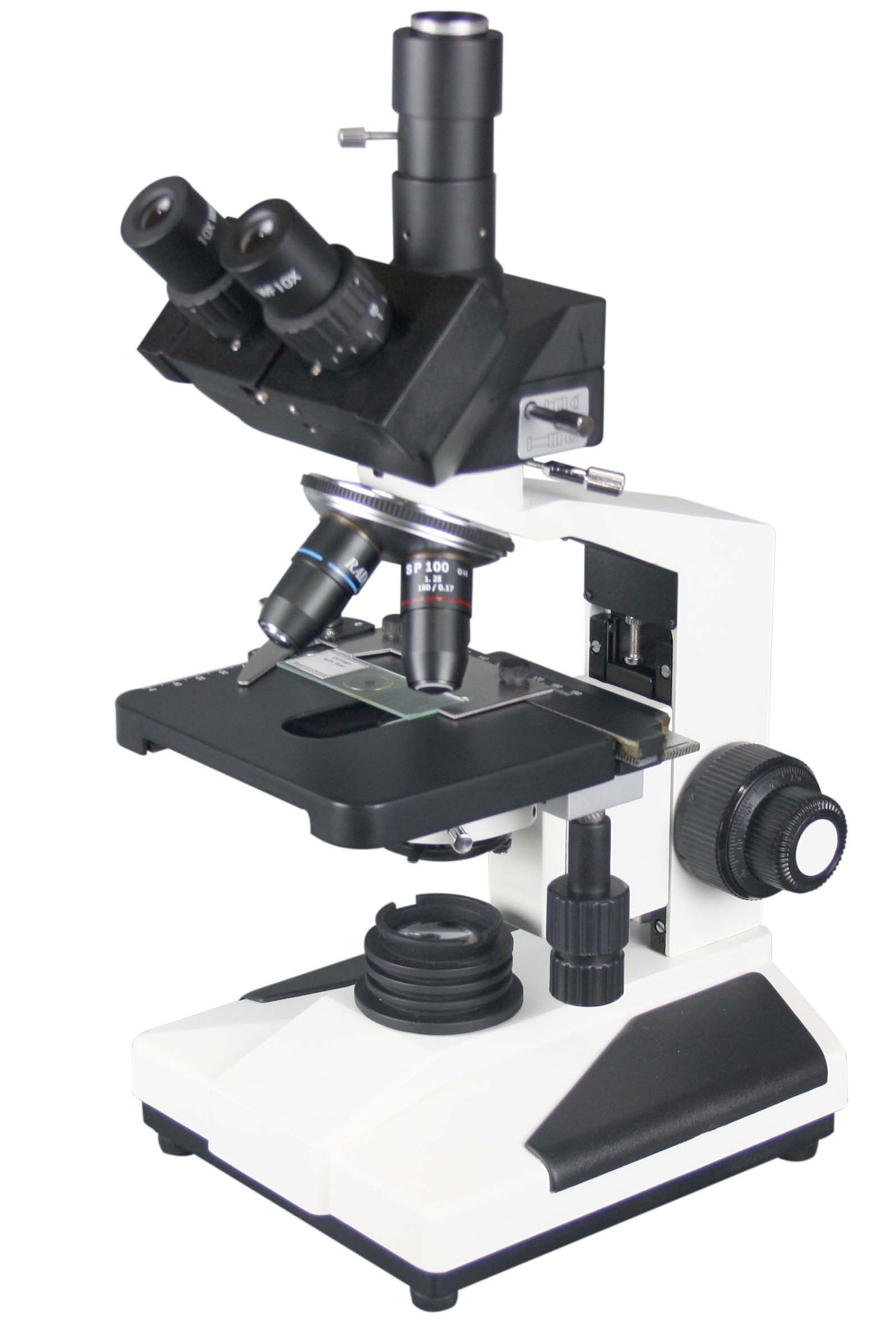 Radical 2500x Professional Research Clinical Doctor Trinocular LED Microscope w PLAN Objectives and Camera Port by Radical