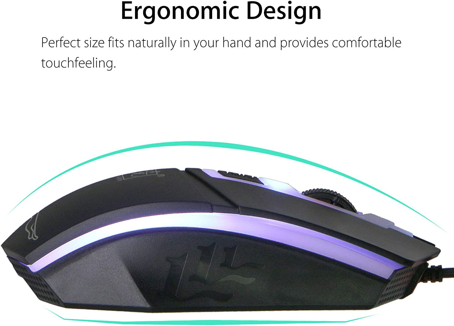 Wired Ergonomic Gaming LED Keyboard and Mouse Multiple Color Rainbow LED Backlit Mechanical Feeling USB Wired Gaming Keyboard and Mouse Combo for Working or Gaming