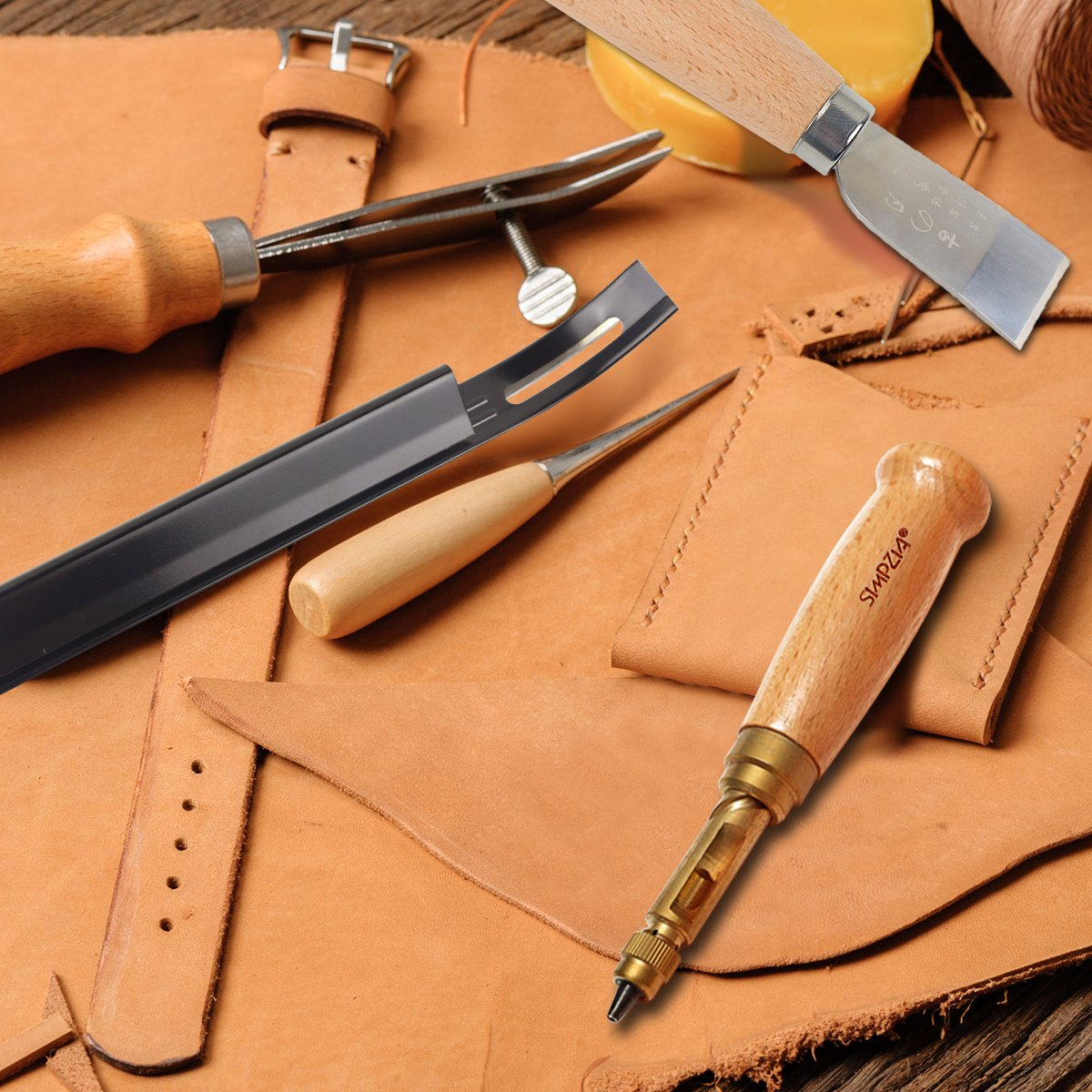 Leather Craft Tool SIMPZIA 31 PCS Leather Sewing Tools Kit Leather DIY Hand Stitching Tools with Groover Awl Edge Creaser for Sewing Leather Canvas,Be Careful of Sharp Edges Keep Way from Kids