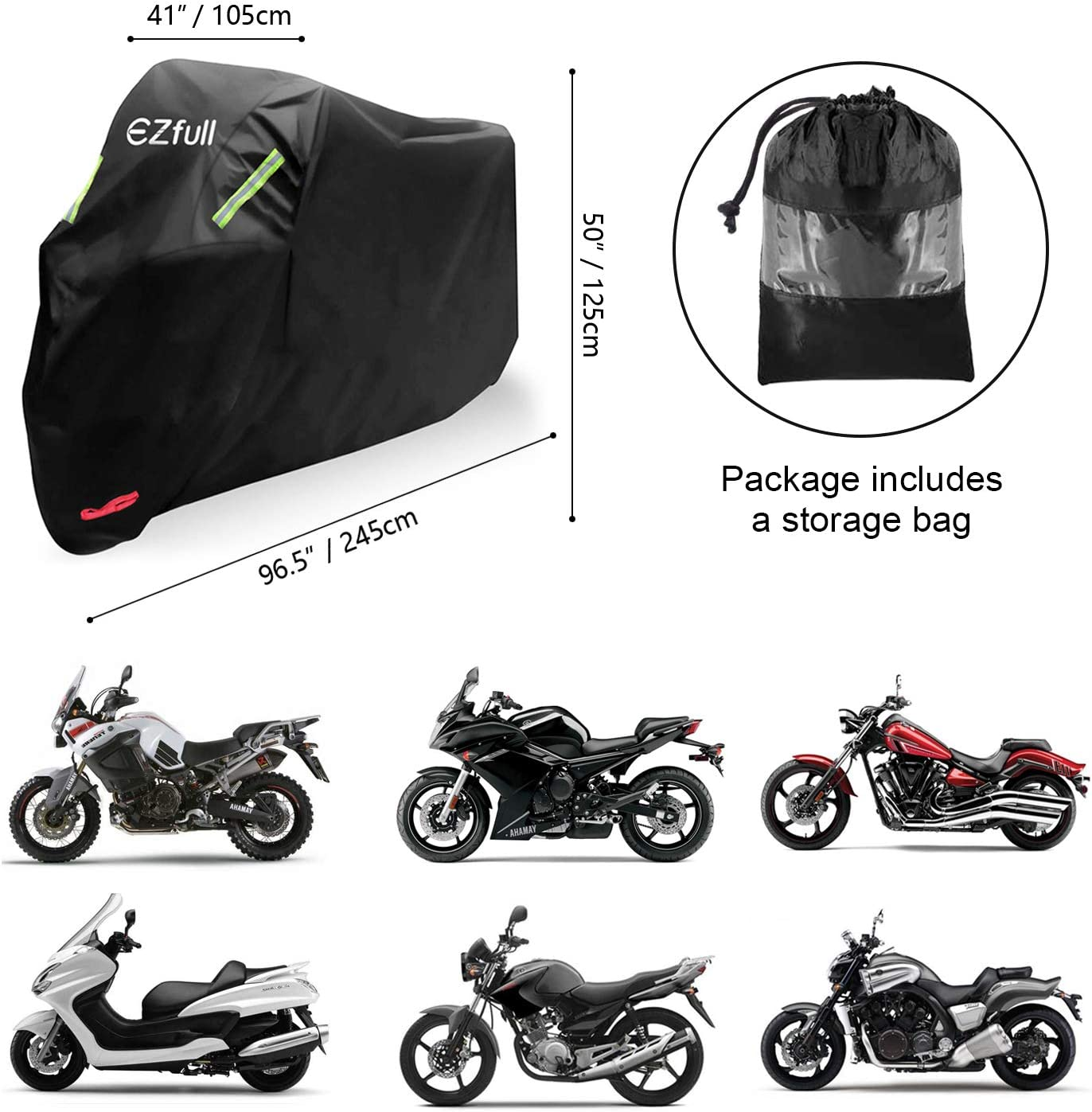 resistente allinverno Honda Kawasaki Suzuki 245 x 105 x 125 cm per esterni EZfull Telo di copertura impermeabile per moto tessuto Oxford con fori per Harley-Davidson . 210D