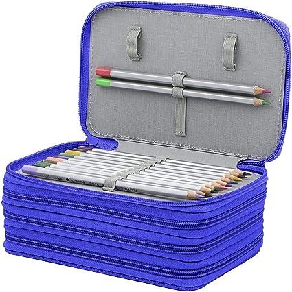 72 ranuras, diseño de 4 capas, Oxford, estuche para lápices, tamaño de capacidad, estuche para lápices, lápices de colores, lápices de acuarela y lápices de colores, color azul: Amazon.es: Oficina y papelería