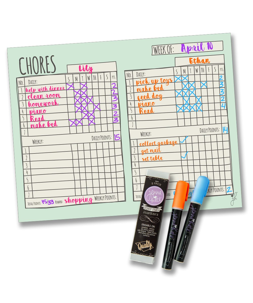Jennakate - Mint Magnetic Multiple Child Behavior Reward Chore Chart - Daily Household Chore Checklist - Two Child Job Chart - Dry Erase - 18'' x 14''- Two Dry Erase Liquid Chalk Markers by Jennakate
