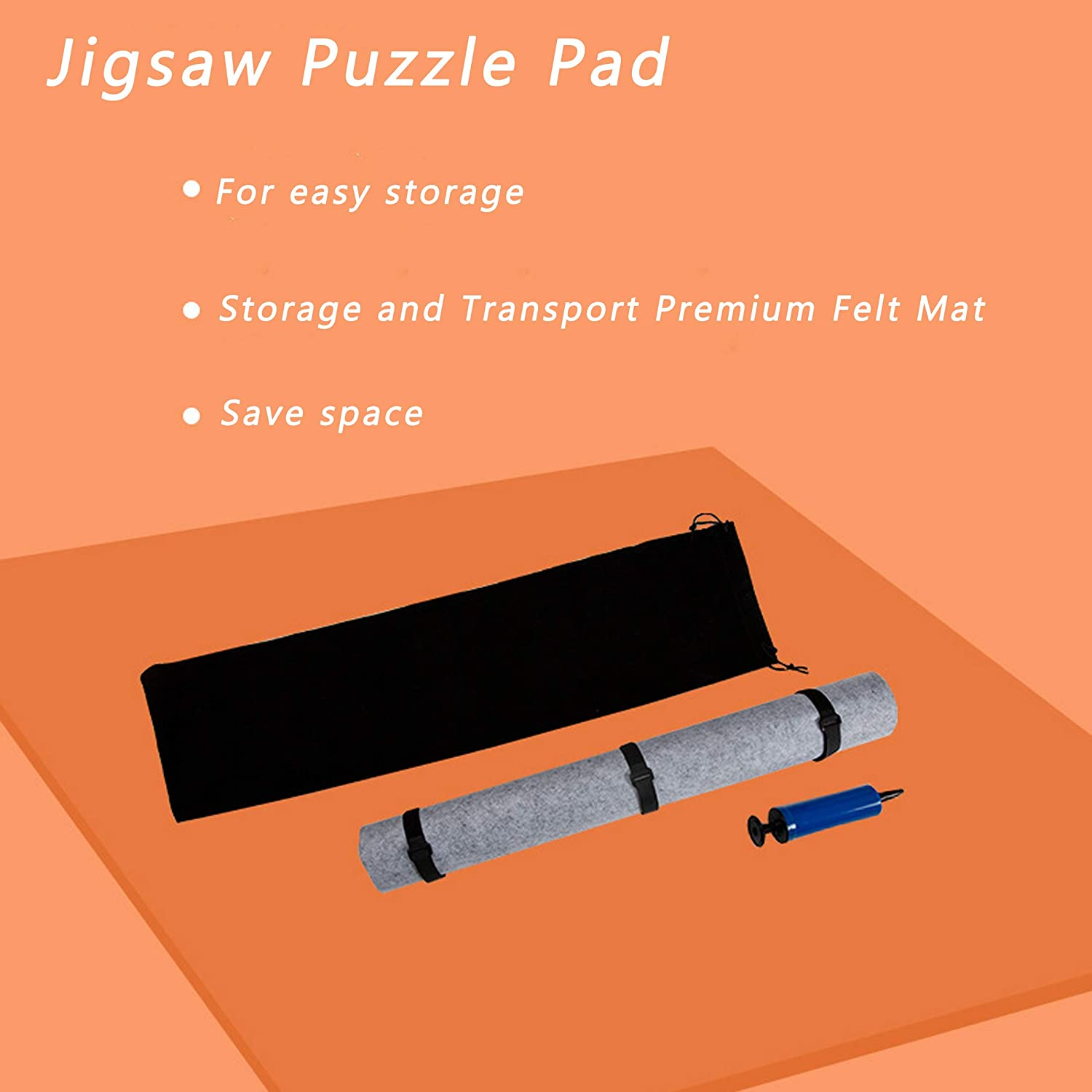 Can Store Unfinished Puzzles LUUFAN Jigsaw Puzzle Storage Roll Up Mat 1,500 Pieces Puzzle Pad Saver Tool Storage and Transport Premium Grey Felt Mat Grey