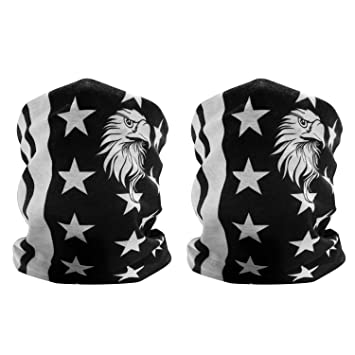 GAMPRO 2-Pack bandera americana patrón de águila máscara de cara al aire libre,