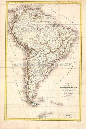 South America Antique Map Original South American Decor History Gift ...
