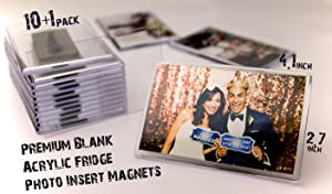 NSD5 Premium Blank Clear Acrylic Fridge Photo Insert Magnets–Sturdy Transparent Plastic DIY Frige Magnet Set, 4.1x2.7 Size, Ideal For Souvenirs, Wedding Gifts & Keepsakes (10+1 FREE) (Clear, 11)