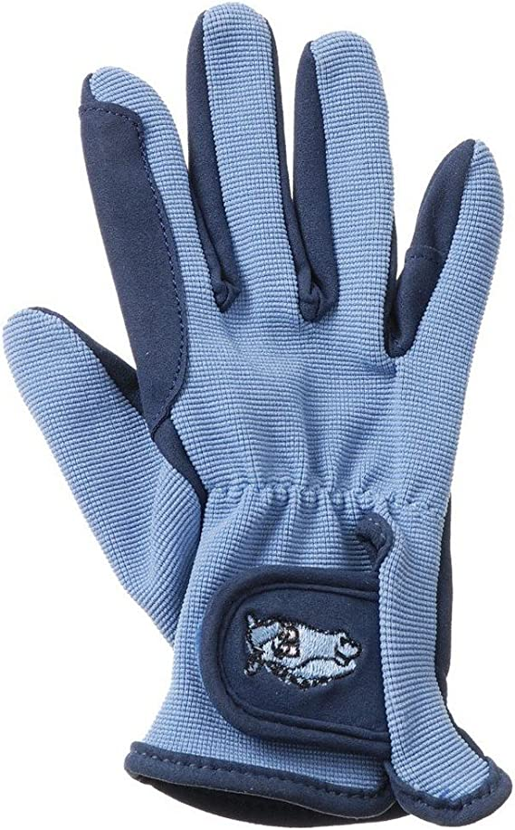 Tough 1 light blue embroidered children/'s riding gloves size small horse tack