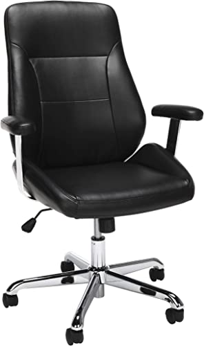 OFM Core Collection Office Chair, Mid Back Leather Task Chair, in Black 730-L-BLK