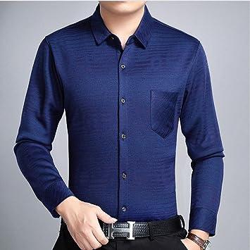 Hombres camiseta manga larga _ felpa gruesa camisa de manga larga/Invierno Hombre de negocios cálidas rayas camisa de manga larga, Azul, L: Amazon.es: Deportes y aire libre