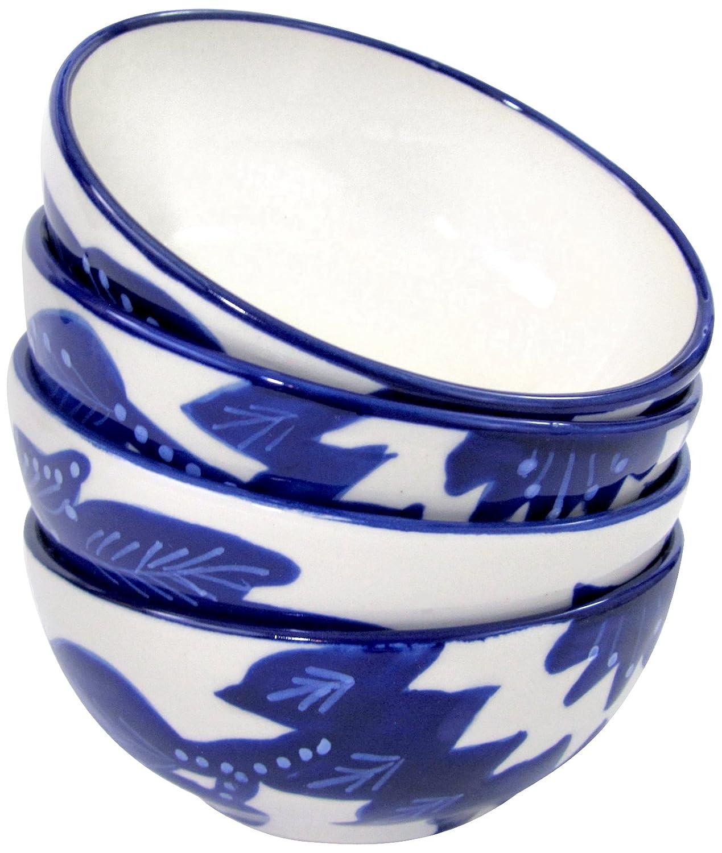 Le Souk Ceramique JA34 Stoneware Deep Sauce/Ice Cream Bowl, Cobalt Blue/White, Small