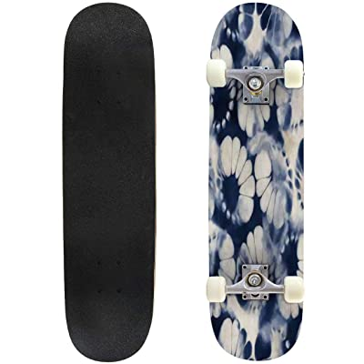 "Abstract Seamless Pattern Marble Colorful Art Background Texture Outdoor Skateboard 31""x8"" Pro Complete Skate Board Cruiser 8 Layers Double Kick Concave Deck Maple Longboards for Youths Sports : Sports & Outdoors"