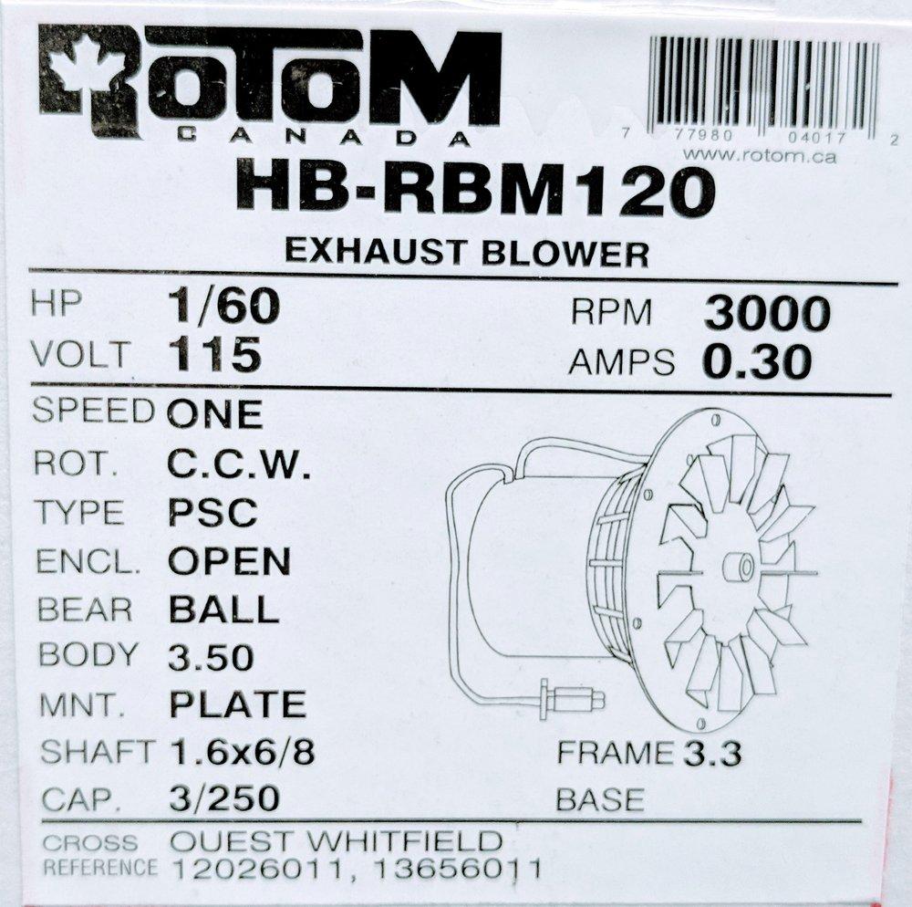 Rotom HB-RBM120 Pellet Stove Blower Motor Replacement 1/60 hp, 3000 rpm, 0.3 Amp, 115V