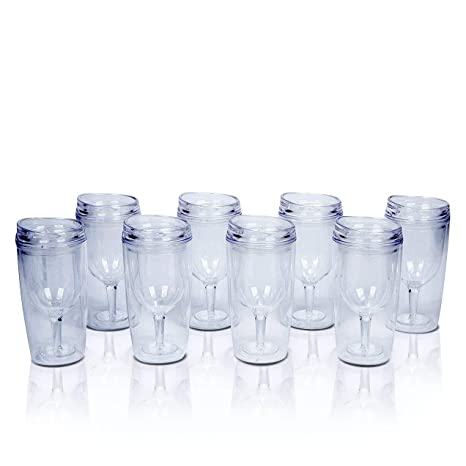 Amazoncom 8 Insulated Wine Tumblers With Lids Acrylic Stemless