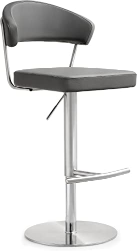 Tov Furniture The Cosmo Collection Adjustable Height Swivel Stainless Steel Metal Industrial Bar Stool with Back, Gray