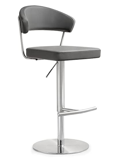 Groovy Tov Furniture The Cosmo Collection Adjustable Height Swivel Stainless Steel Metal Industrial Bar Stool With Back Gray Machost Co Dining Chair Design Ideas Machostcouk
